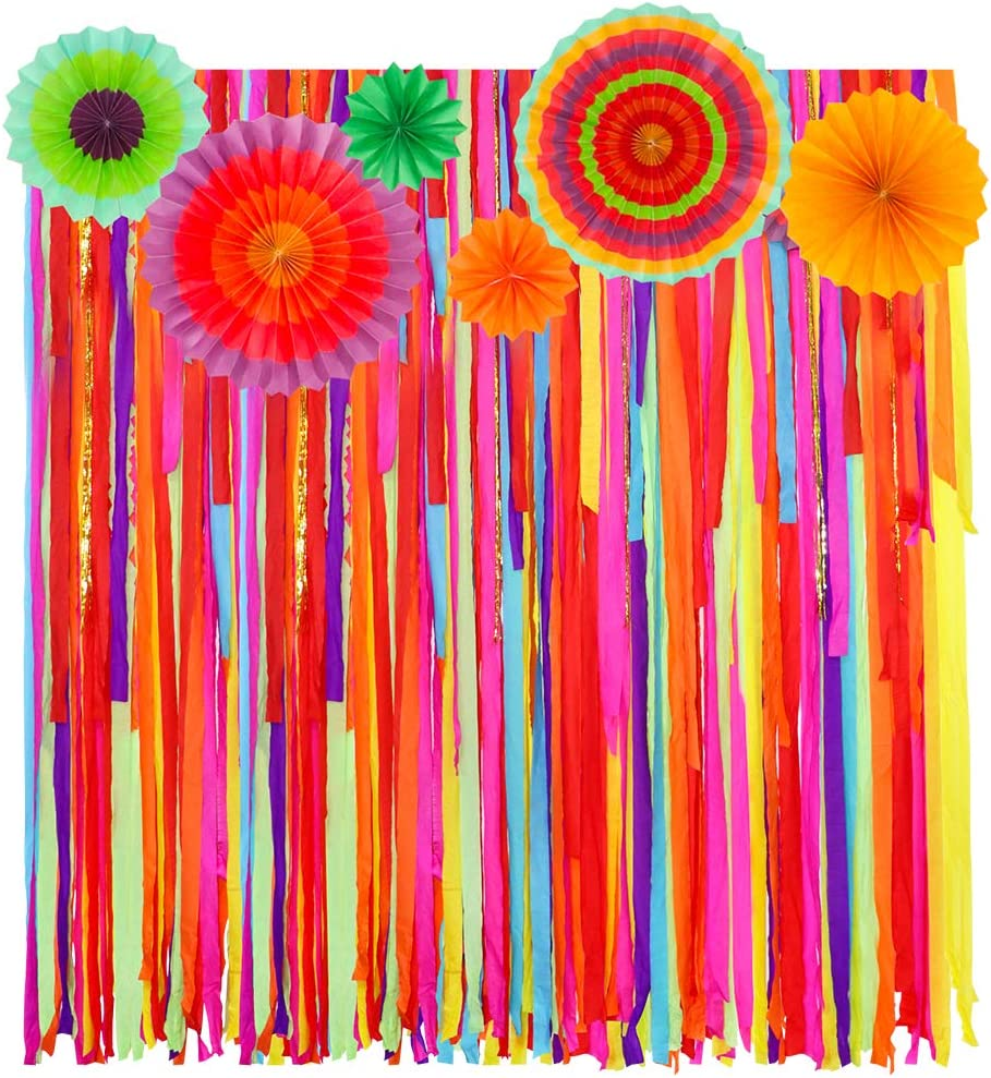 Mexican Fiesta Theme Party Backdrop with Fiesta Paper Fans, Mexican Fiesta Cinco De Mayo Party Decorations Streamer Backdrop for Fiesta Taco Party Wedding Bridal Baby Shower Birthday Party Supplies
