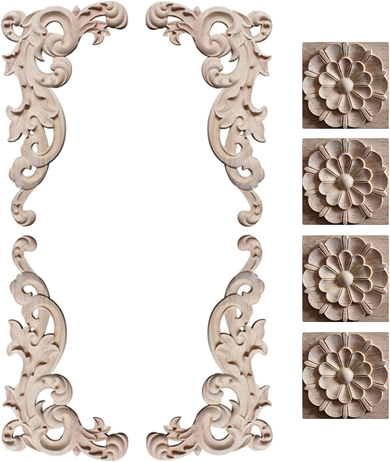 YUENA CARE 8PCS Wood Carved Corner Onlay Applique Furniture Decorations Unpainted Flower Decal