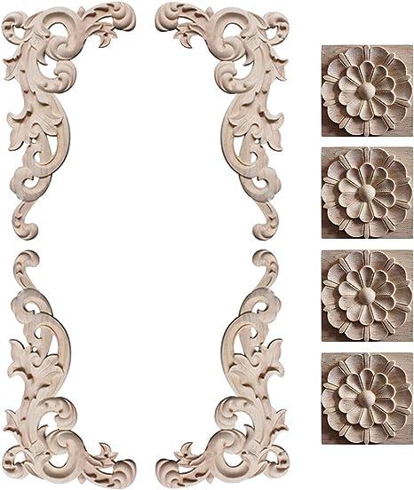Wood Carved Corner Decal Applique Onlay Furniture Elegant Unpainted Decoration
