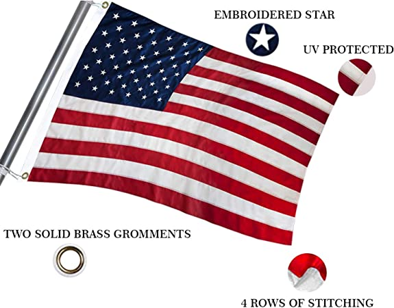 3x5 Ft American Flag Independence Day Embroidered Stars Sewn Stripes Outdoors US