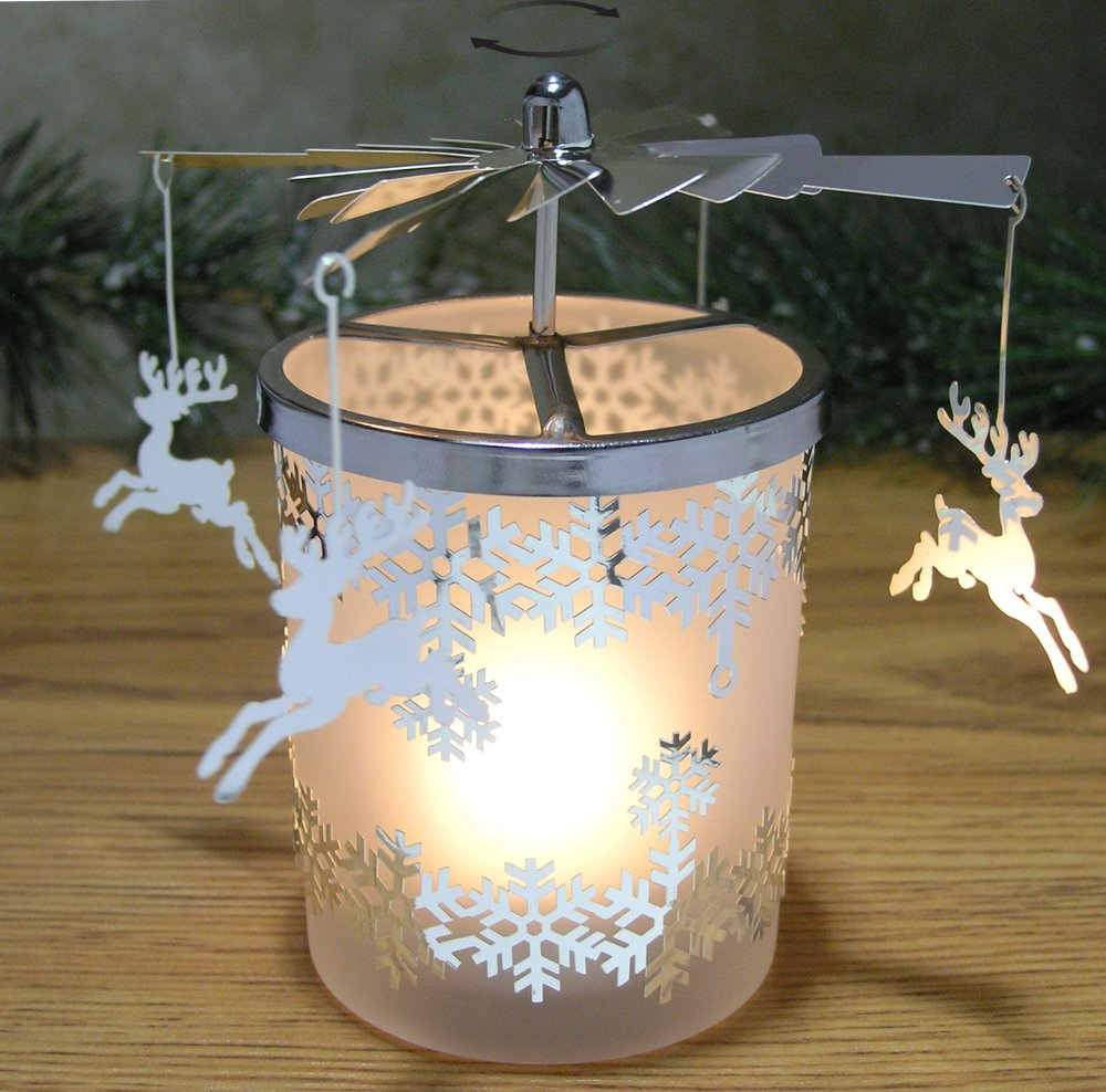 Christmas decoration with candles that spins - Spinning Reindeer Candle Holders For Christmas