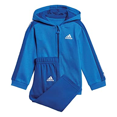 adidas Unisex Baby 3 Stripes Full Zip Hooded Fleece Trainingsanzug
