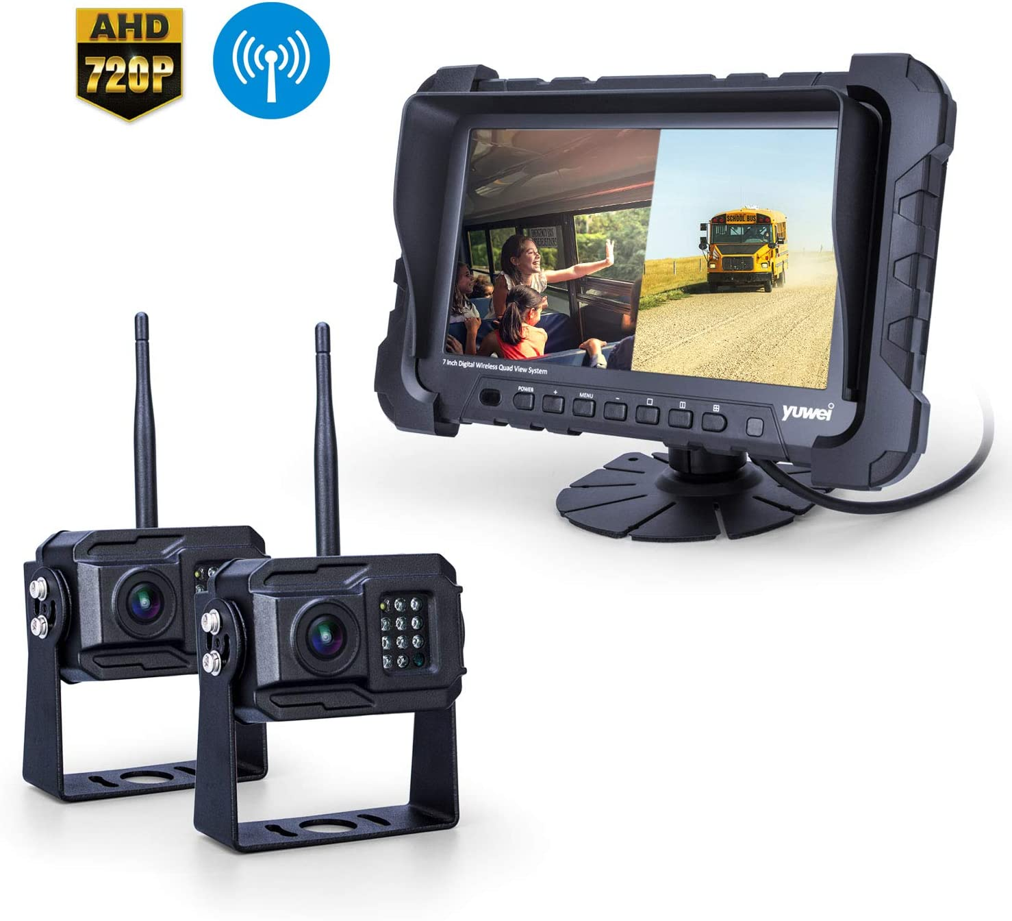 Yuwei Digital Wireless Backup Camera System,YW-77214 Dual HD 720P Camera Wireless Reverse System with Night Vision