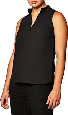 Lark & Ro Amazon Brand Women's Sleeveless Open Collar Blouse
