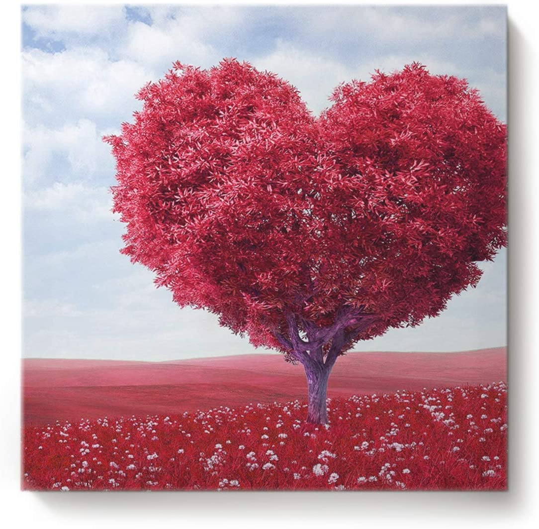 Square Canvas Wall Art Oil Painting for Bedroom Living Room Home Decor,Red Heart-Shaped Rose Pattern Happy Valentine s Day Office Artworks,Stretched by Wooden Frame,Ready to Hang,24 x 24 Inch
