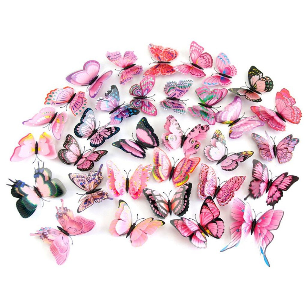 12Pcs 3D Butterfly Magnet Wall Stickers Vovotrade® Thanksgiving Christmas (Pink) by Vovotrade (Image #2)