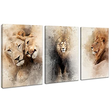 df2cab75af2cc HUADAOART Large Lion Wall Art Brown Picture Fierce Animal Face Canvas  Artwork Wildlife Canvas Print Modern Wall Decor for Home Living Room Teen  ...