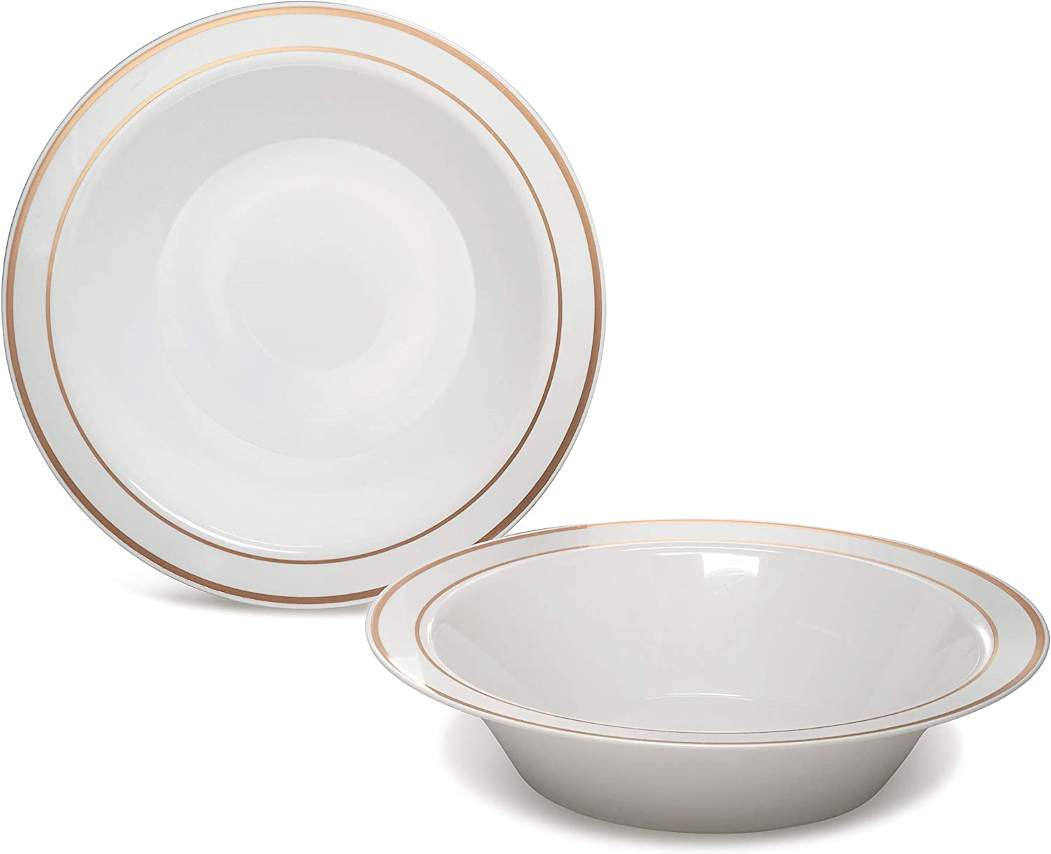 OCCASIONS 120 Bowls Pack, Heavyweight Disposable Wedding Party Plastic Bowls (14oz Soup Bowl, White & Rose Gold Rim)