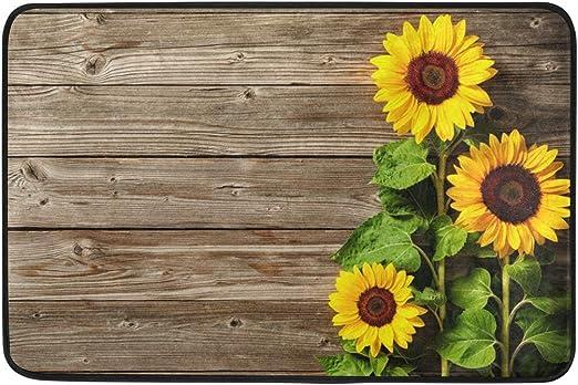 Kitchen Bath Bathroom Shower Floor Home Door Mat Rug Non-Slip Sunflower flower