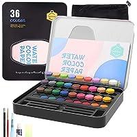 (2021 Nuevo modelo) Cheelom Pintura de Acuarela, Set de 36 Colores,Kit de Acuarela Profesional de Gouache con Pincel de…