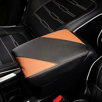 Bwen fsx0428w CRV Armrest Box Cover,1pc Armrest Box Cover Saver Fit For 2017 2018 Honda CRV,Black with Red Stitches