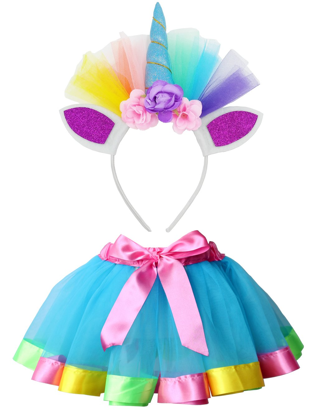 Loveyal Little Girls Layered Rainbow Tutu Skirts with Unicorn Horn Headband (Lake Blue, L,4-8 Years)