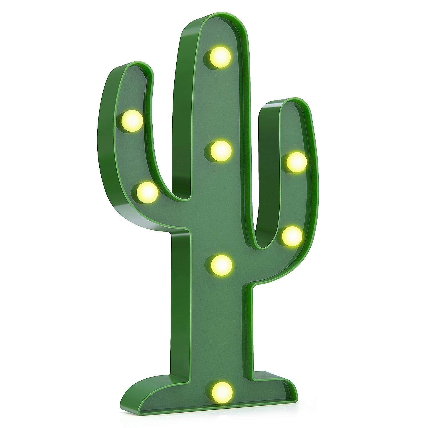 Wsxxn Table Lamp, LED Night Light Romantic Battery-operated Table Lamp Home Party Christmas Lighting Fixture (Cactus)