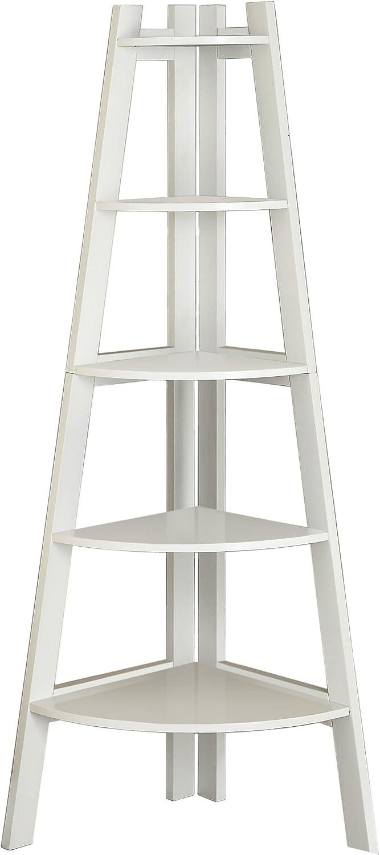 Furniture of America Andrea 5-Tier Corner Bookshelf, White