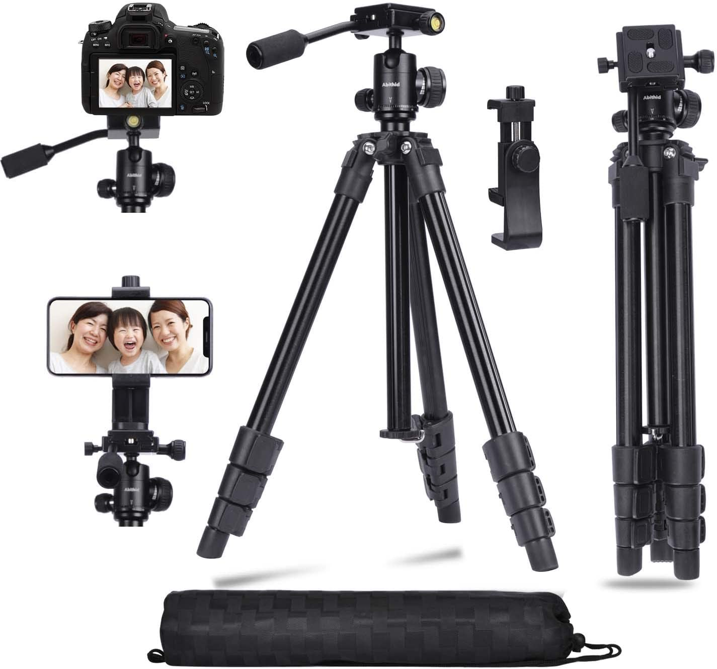 Amazon Com Abithid Camera Tripod Dslr Stand Phone Holder Tripod Compact Light Video Vlog Blogging Stand With Quick Plate And 360 Panorama Ball Head For Travel Camera Photo