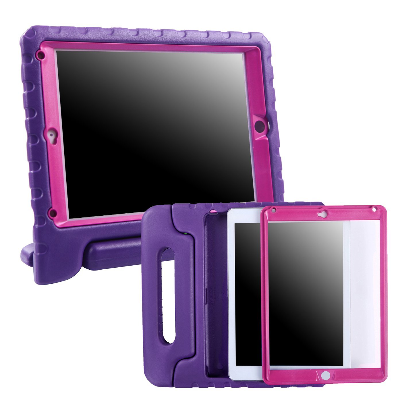HDE Case for iPad Mini 1 2 3 Kids Shockproof Bumper Hard Cover Handle Stand with Built in Screen Protector for Apple iPad Mini 1st 2nd 3rd Generation (Purple Pink)