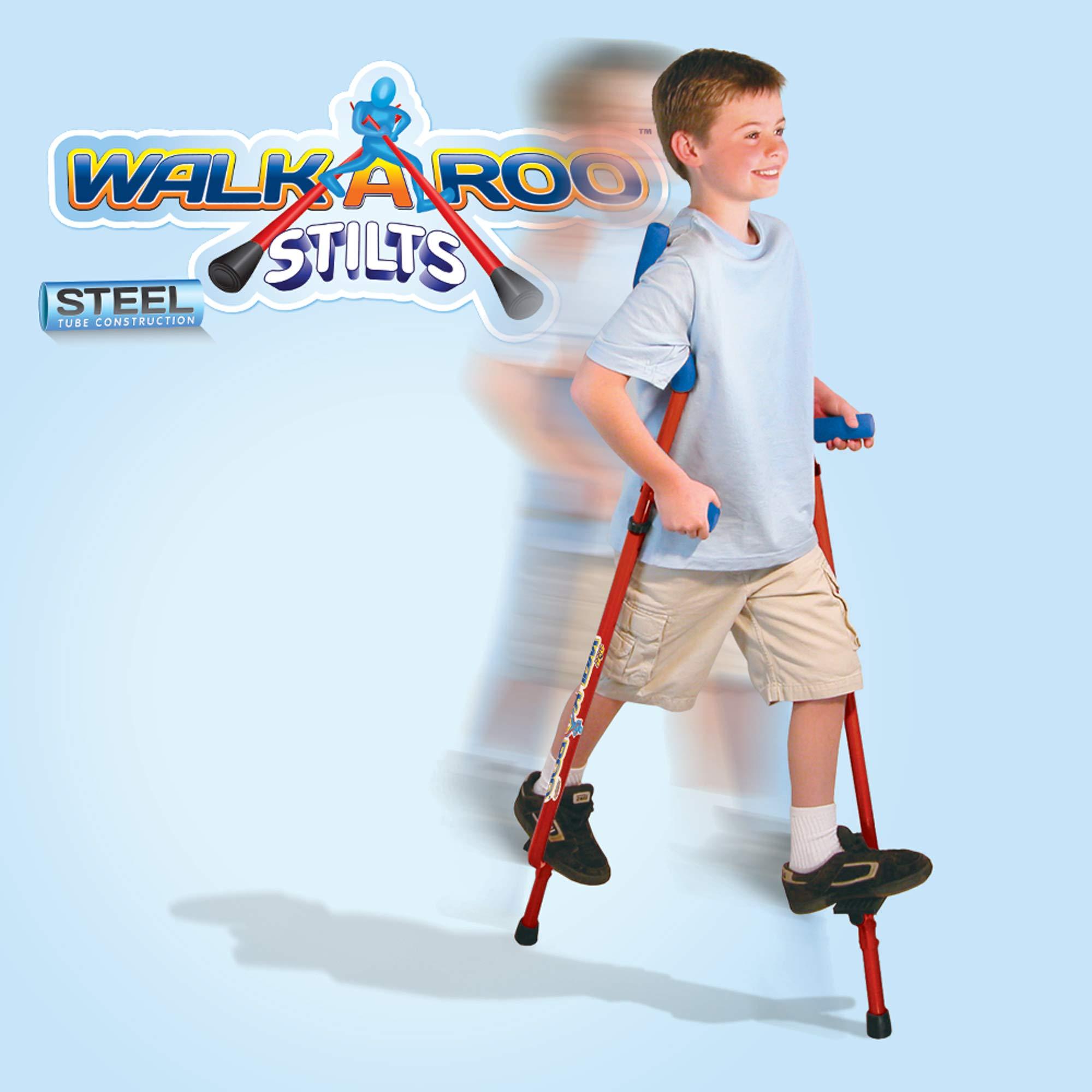 Geospace Original Walkaroo Stilts by Air Kicks (Steel) with Ergonomic Design for Easy Balance Walking, RED