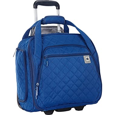 Delsey Quilted Rolling Underseat Bag For Carry-On Fits Overhead & Under Airline Seat - (Teal)