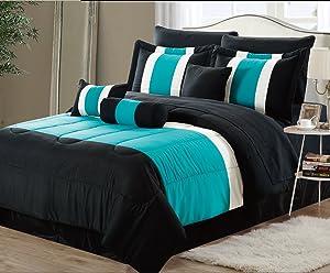 EMPIRE 8-Piece Oversized Teal Blue & Black Comforter Set Bedding with Sheet Set (California King)