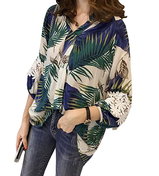 Coolred Women Lace Stitching Print 3 4 Sleeve Plus Size Blouses