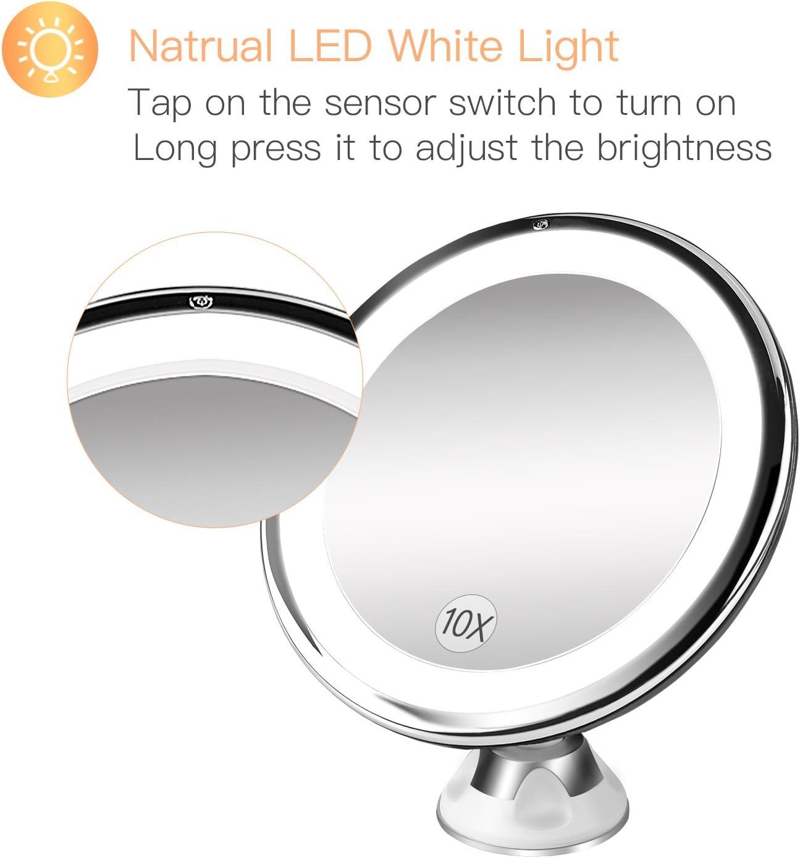rotation /à 360 degr/és avec lumi/ère naturelle v/éritable et grossissement cosm/étique miroir de bureau Keer Miroir de maquillage grossissant 10 x /à piles salle de bain chambre /à coucher