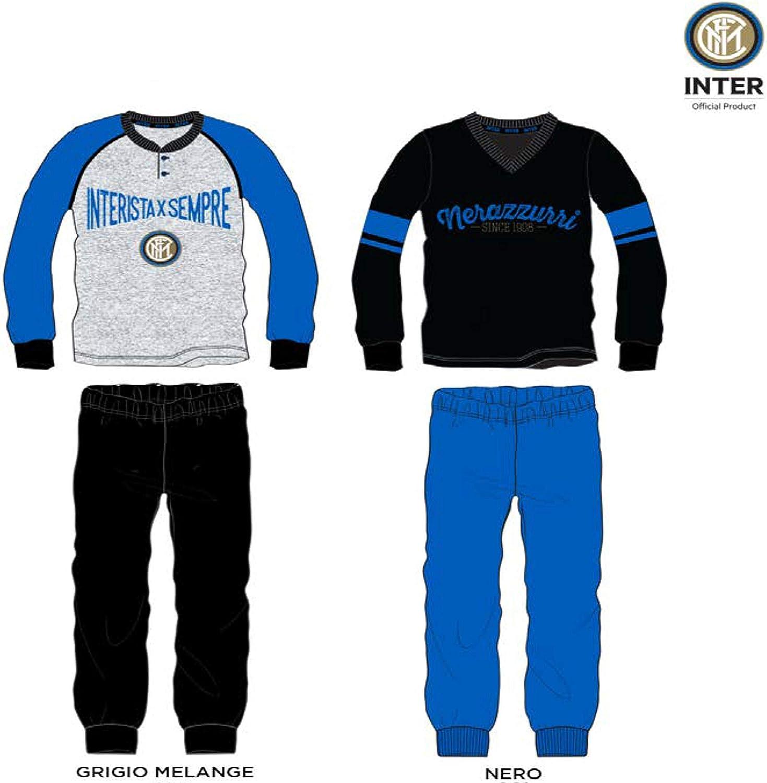 Inter Pigiama Homewear Junior Prodotto Ufficiale Cotone Leggero Pigiama Serafino Manica Lunga e Pantalone Lungo in Due Colori