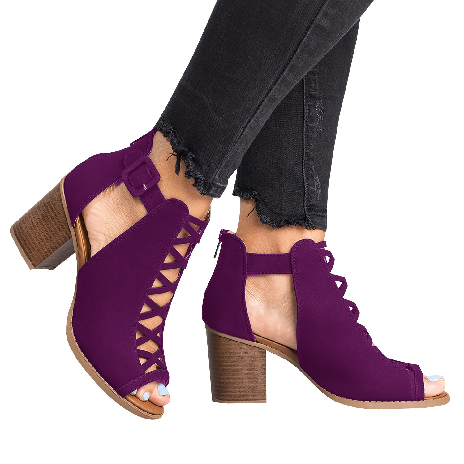 Womens Cutout Open Toe Bootie Sandals Stacked Chunky Block High Heel Ankle Boots