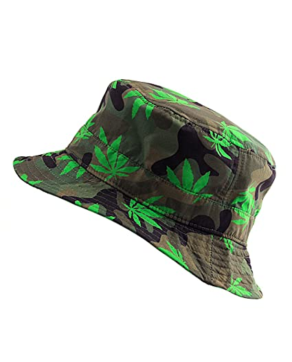7f7a3db2d70 Amazon.com  NYfashion101 Fashionable Unisex Satin Lined Printed Pattern  Cotton Bucket Hat (Green Leaf Camouflage)  Clothing