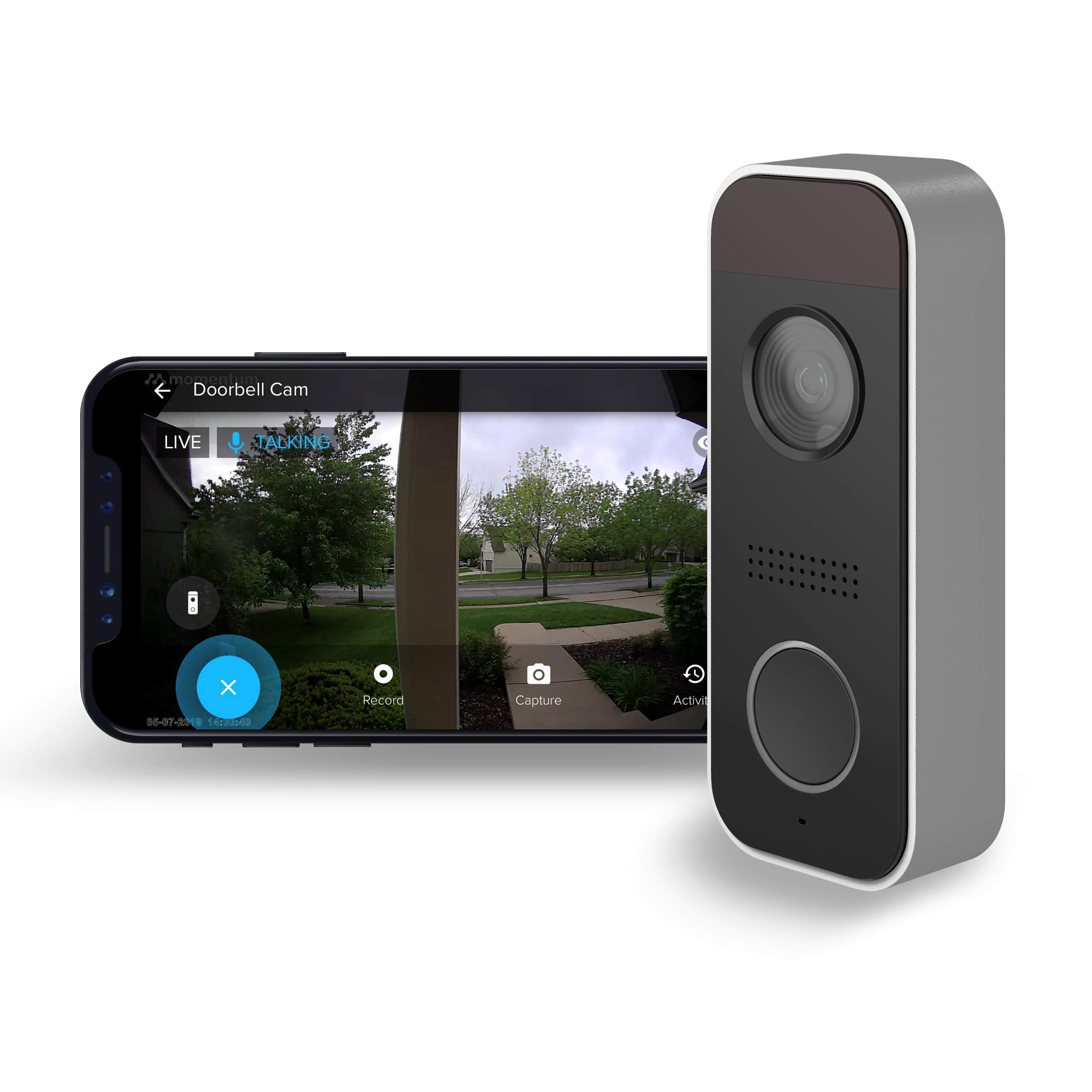 Momentum Knok Smart Video Doorbell for Home with Package Delivery Alerts   1080p Real-Time Wireless Video, Motion Zone Creation, HD Night Vision, Two-Way Talk, Built-In Siren, Free Cloud Storage