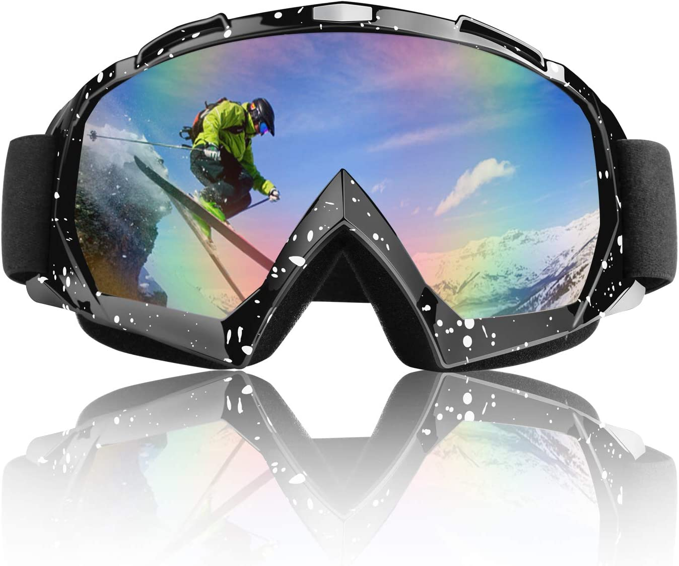 Venoro Ski Goggles, Over Glasses Motorcycle Snowboard Goggles Anti-Fog UV400 Protection Lens, ATV Goggles with Adjustable Strap for Men, Women and Youth