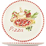 Home Pizzateller, 34cm, Keramik, mehrfarbig