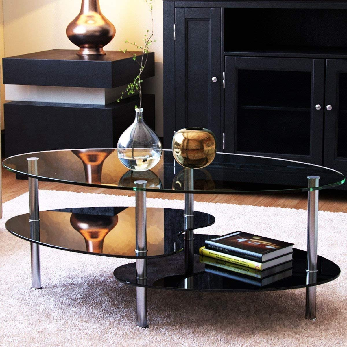 Amazon Com Ryan Rove Orion Oval Two Tier Glass Coffee Table Coffee Tables For Living Room Kitchen Bedroom And Office Glass Shelves Under Desk Storage Clear And Black Glass