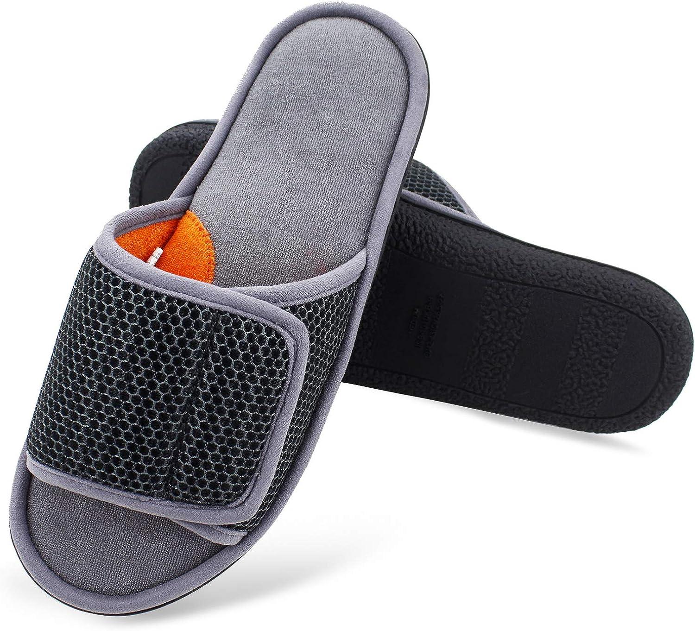 WALKFUN Men's Memory Foam Adjustable Mesh Spa Home Indoor Slippers