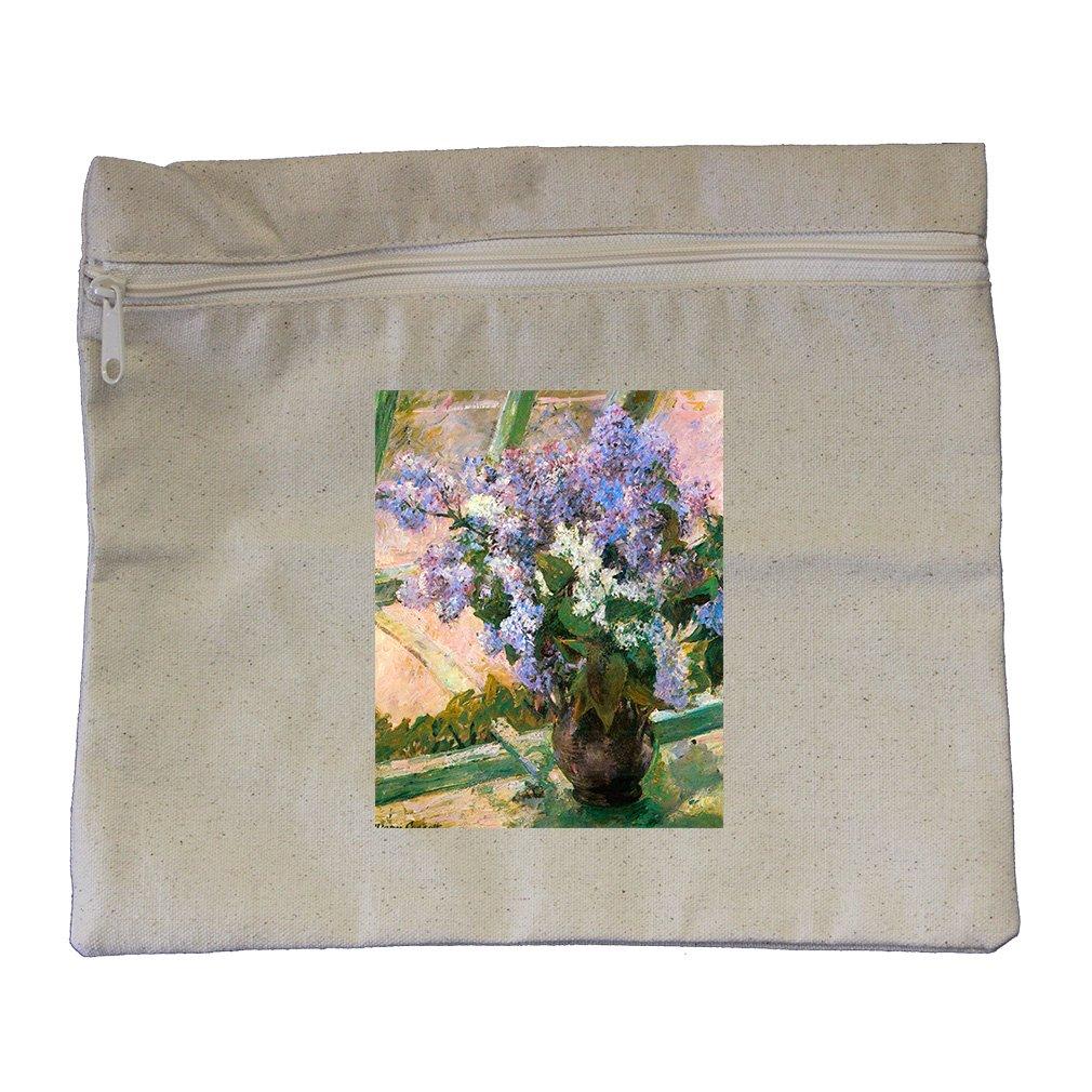Flowers In The Window #1 (Cassatt) Canvas Zippered Pouch Makeup Bag