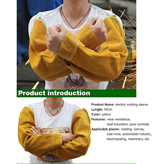 Mangas de soldadura de piel resistente al calor un par de protectores de brazo de seguridad y protecci/ón contra chispas