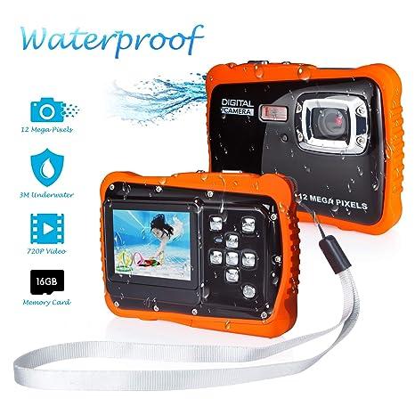 Kamera für Kinder, Kinderkamera Wasserdicht bis 3 Meter Digitalkamera mit 4x Digitaler Zoom/ 12MP HD Fotos/ 720P HD Videofunk