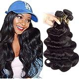 "QTHAIR 12A Brazilian Body Wave Virgin Hair(8"" 10"" 12"",300g/10.5OZ,Natural Black Color) 100% Unprocessed Brazilian Body Wave Human Hair Weave"