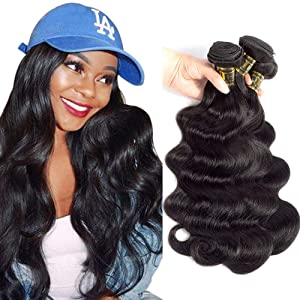 "QTHAIR 12A Grade Brazilian Virgin Hair Body Wave Natural Black 100% Unprocessed Virgin Brazilian Body Wavy Human Hair Weave 3 Bundles 20"" 18"" 16"" 300g Brazilian Body Wave Human Hair Extensions"