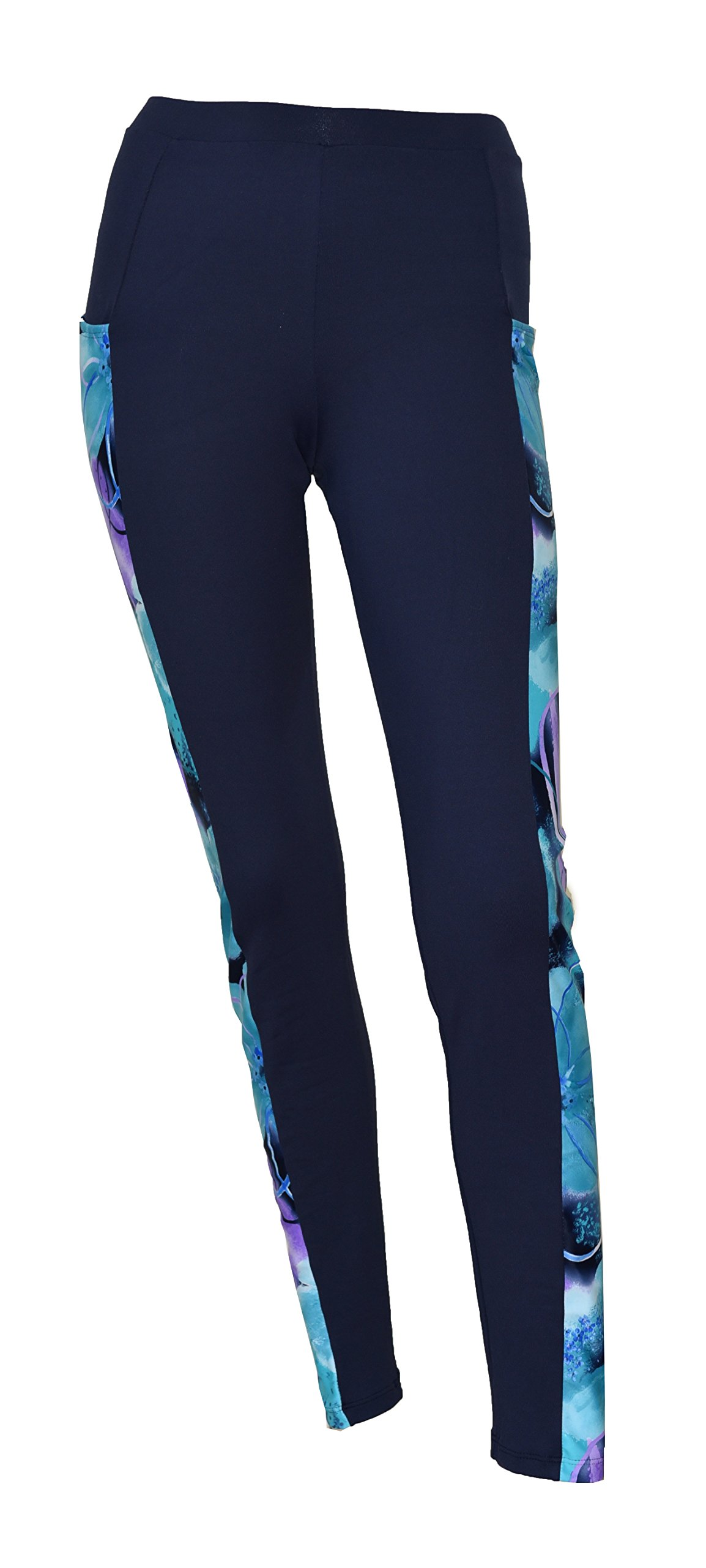 Private Island Hawaii Women UV Rash Guard Leggings Long Pants Surfing Sun Protection Swimming Suit Wide Color Scheme with Both Side Pocket Navy with Jade Violet Large