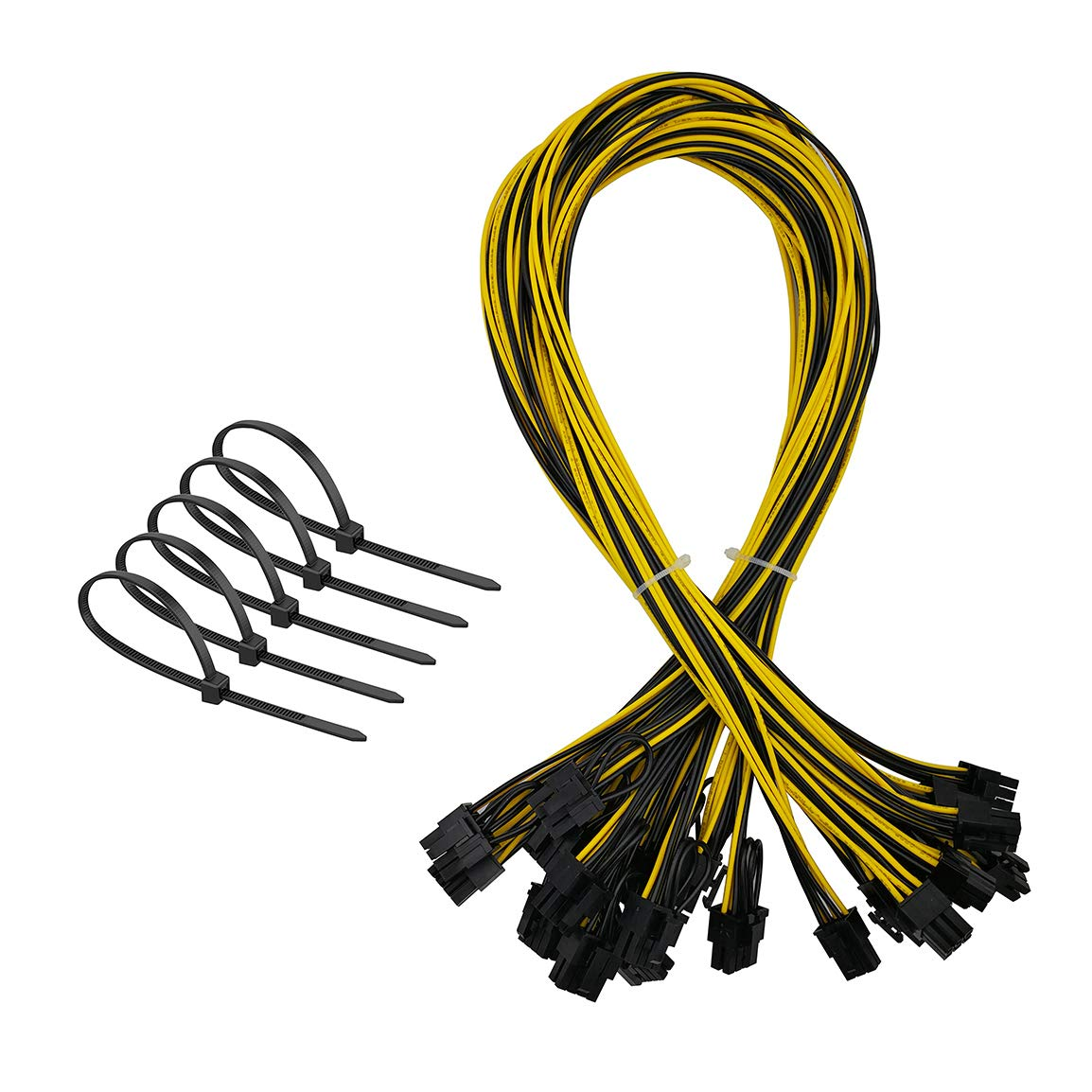 6Pin PCI-E to 8 (6+2) Pin Power Cable, Graphics Video Card PCI Express VGA Extension Power Supply Cable for GPU Ethereum ETH ZEC Mining (18AWG, 27.5 Inch, 12-Pack)