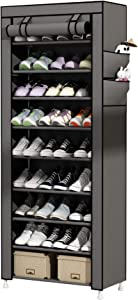 UDEAR 9 Tier Shoe Rack with Dustproof Cover Shoe Shelf Storage Organizer Grey