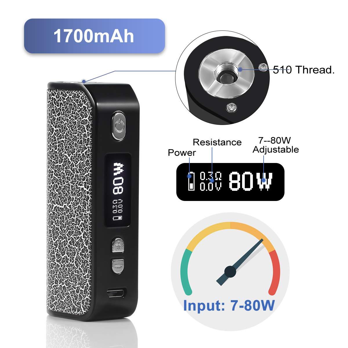 Cigarrillo Electronico Kit, Voanio Cigarros Electronicos De Vapor 80W Vapeador Kit Completo con Bobina incorporada: 0.25ohm y OLED con modo - Sin nicotina, ...