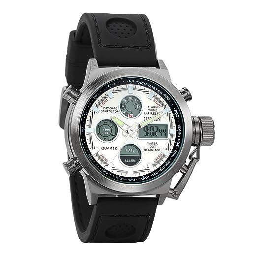 Avaner Grande Reloj de Hombre Militar Deportivo Reloj de Pulsera Negro, Multifuncional Correa de Nylon Reloj de Piloto 2 Zonas de Horarios, ...