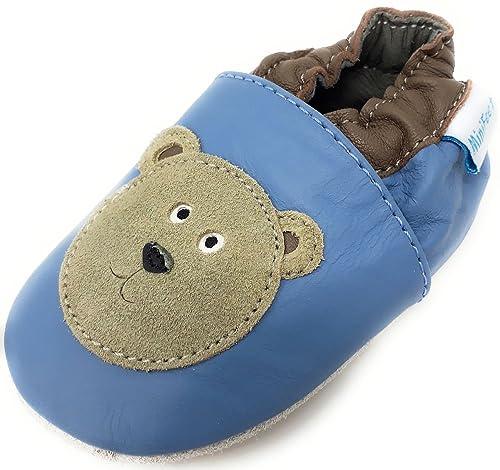 Minifeet Cuir Souple PasBleu Premiers Chaussures Ours Bébé 76byfg