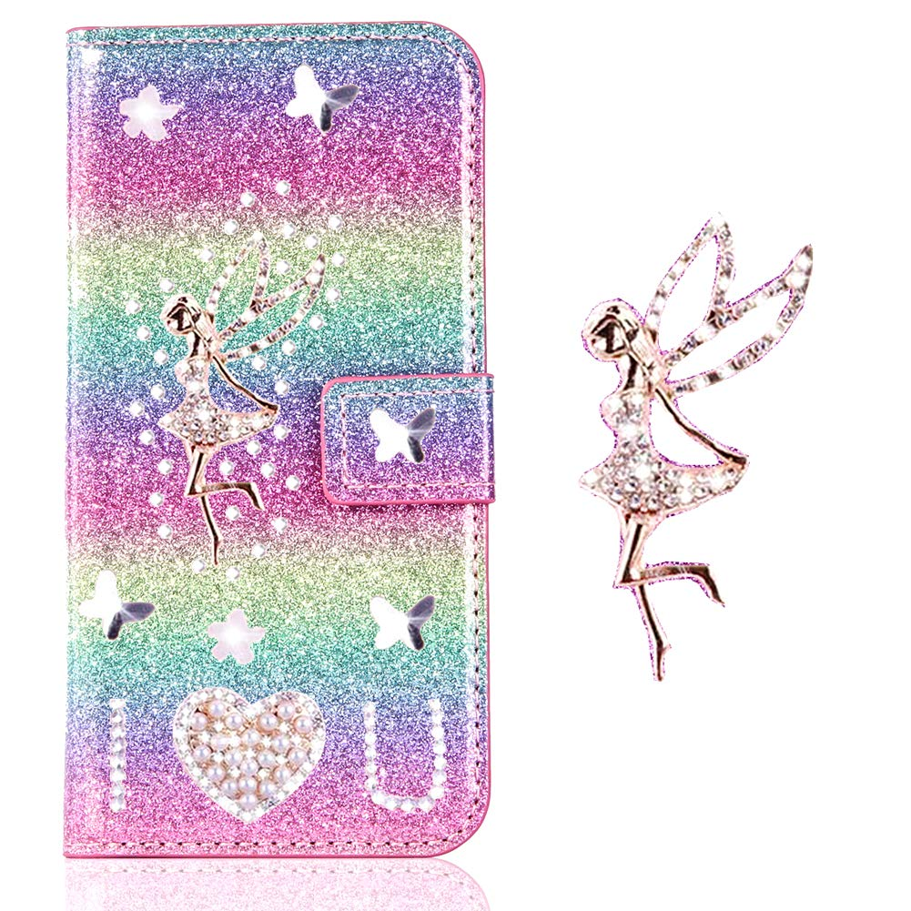 Brilliant Love Hearts Compatible with Samsung A80,Bling Glitter Diamond Leather Wallet Stand Function Magnetic Book Purse Flip Kickstand with Card Slot Holder Protective Cover
