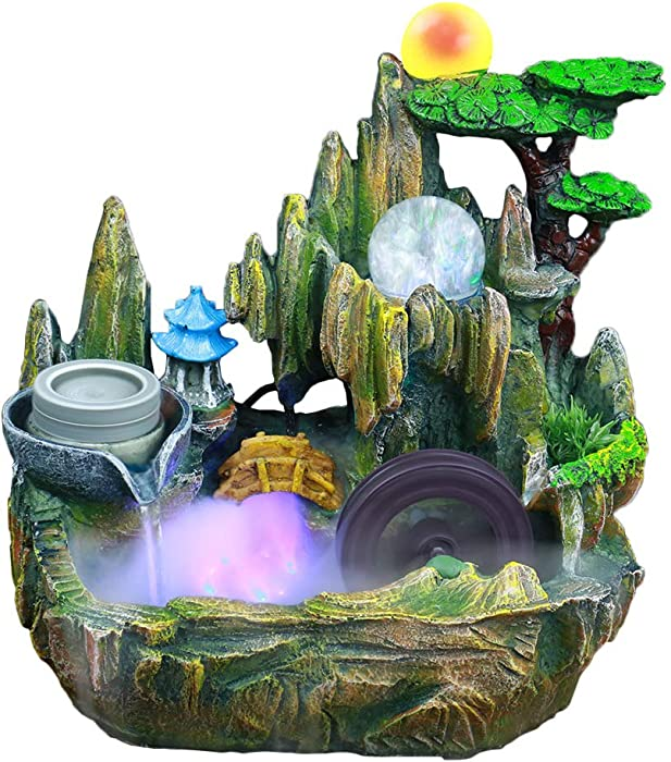 XYing Tabletop Fountain Indoor Small Rockery Desktop Mountain Cascading Waterfalls with Mister Waterwheel Mill Rolling Ball for Decoration Gift