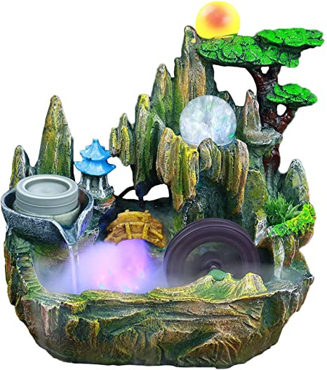 Amazon Com Xying Tabletop Fountain Indoor Small Rockery Desktop Mountain Cascading Waterfalls With Mister Waterwheel Mill Rolling Ball For Decoration Gift Home Kitchen