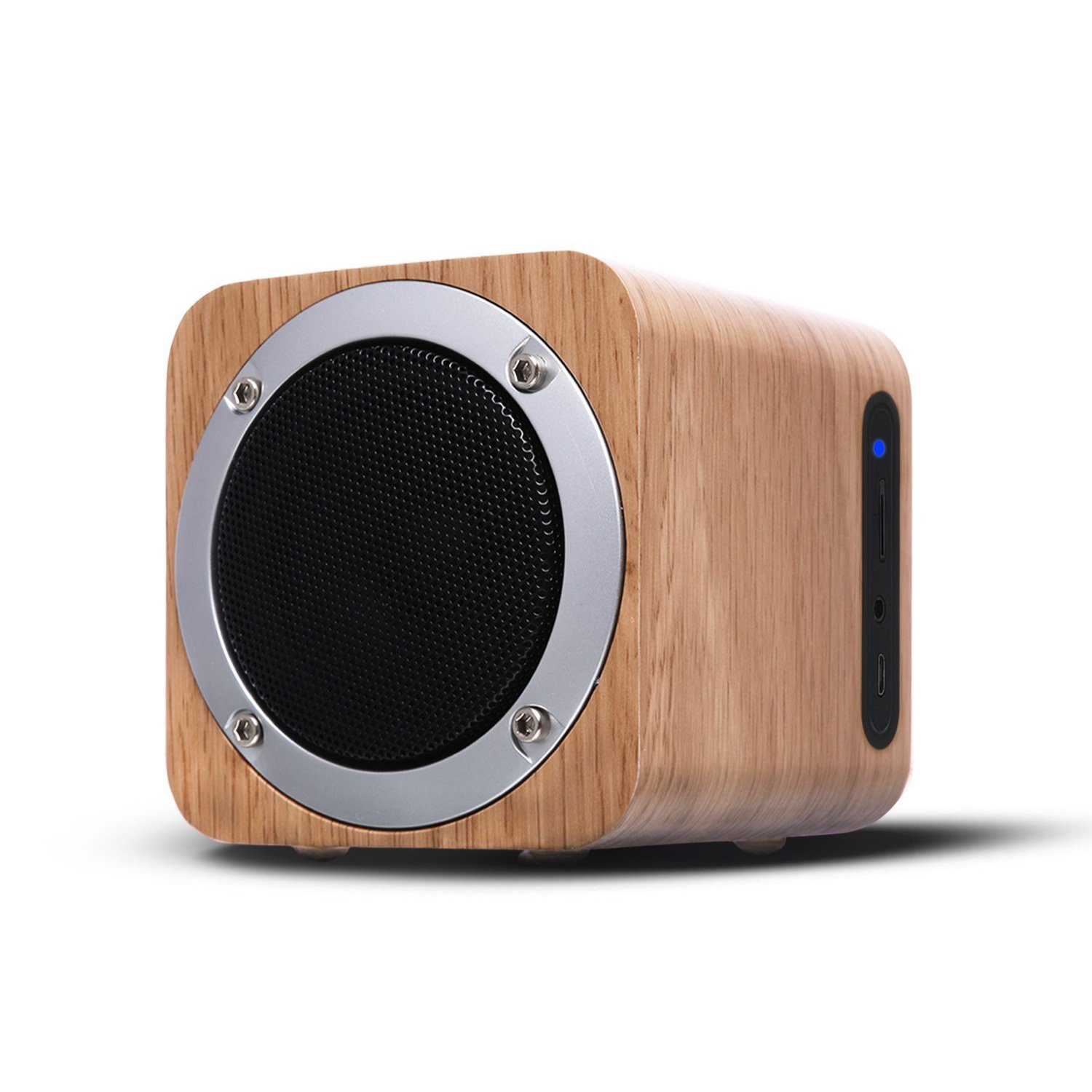 OHHAI Portable Stereo Bluetooth Speakers,FM Mini wooden Wireless Bluetooth Speaker for Home