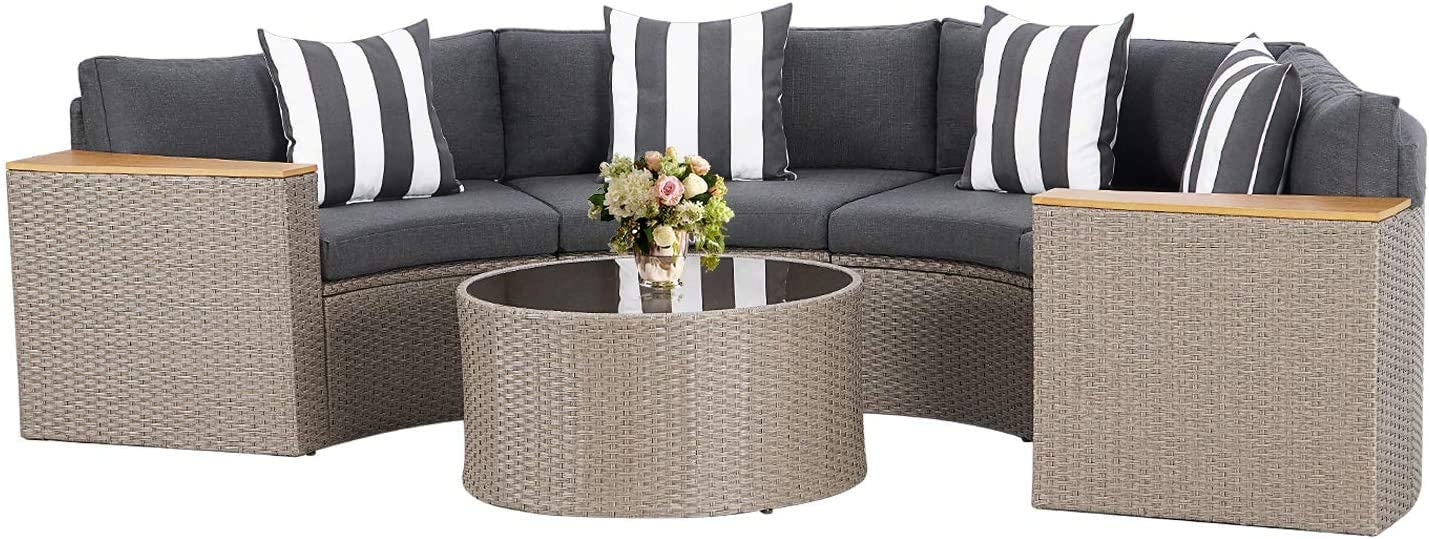 Incbruce Outdoor 5-Piece Sectional Patio Furniture Half-Moon Sofa, All-Weather Gray Wicker Conversation Sets with Round Tempered Glass Top Table and Gray Cushions