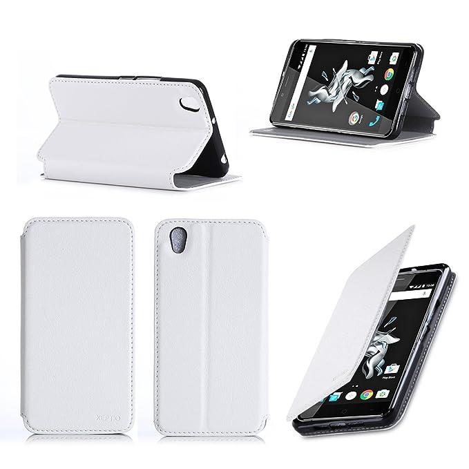 Funda OnePlus X colour blanco con soporte - Funda con tapa ...